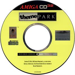 Artwork on the CD for Theme Park on the Commodore Amiga CD32.