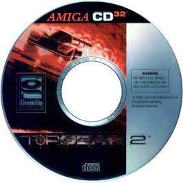 Artwork on the CD for Top Gear 2 on the Commodore Amiga CD32.