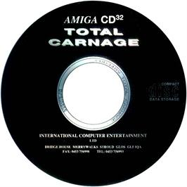 Artwork on the CD for Total Carnage on the Commodore Amiga CD32.