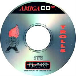 Artwork on the CD for Trolls on the Commodore Amiga CD32.