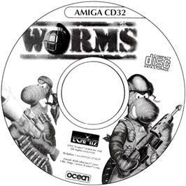 Artwork on the CD for Worms on the Commodore Amiga CD32.