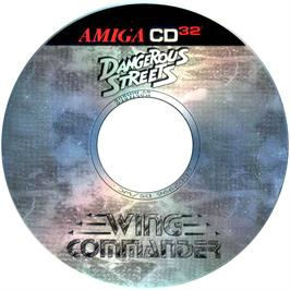 Artwork on the Disc for Dangerous Streets & Wing Commander on the Commodore Amiga CD32.