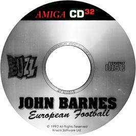 Artwork on the Disc for John Barnes' European Football on the Commodore Amiga CD32.