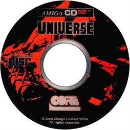 Artwork on the Disc for Universe on the Commodore Amiga CD32.