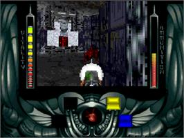 In game image of Alien Breed 3D on the Commodore Amiga CD32.