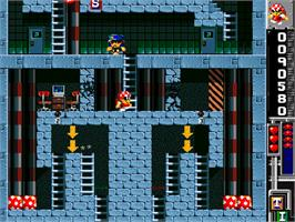In game image of Base Jumpers on the Commodore Amiga CD32.