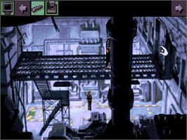 In game image of Beneath a Steel Sky on the Commodore Amiga CD32.