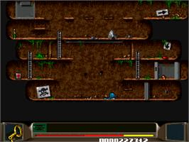 In game image of Benefactor on the Commodore Amiga CD32.