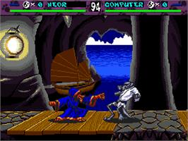 In game image of Brutal: Paws of Fury on the Commodore Amiga CD32.