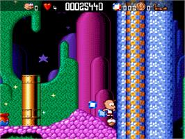 In game image of Bubble and Squeak on the Commodore Amiga CD32.
