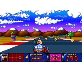 In game image of Bump 'n' Burn on the Commodore Amiga CD32.