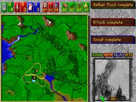 In game image of Castles 2: Siege & Conquest on the Commodore Amiga CD32.
