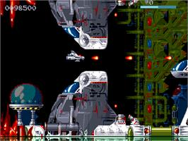 In game image of Disposable Hero on the Commodore Amiga CD32.