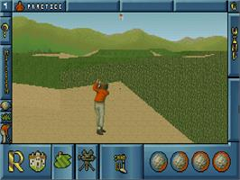 In game image of International Open Golf Championship on the Commodore Amiga CD32.