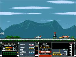 In game image of Jet Strike on the Commodore Amiga CD32.