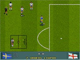 In game image of John Barnes' European Football on the Commodore Amiga CD32.