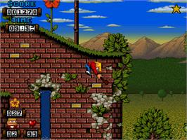 In game image of Kid Chaos on the Commodore Amiga CD32.