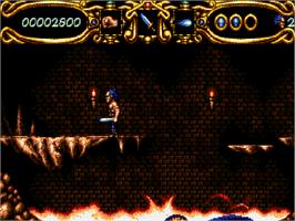 In game image of Myth: History in the Making on the Commodore Amiga CD32.