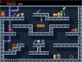 In game image of Naughty Ones on the Commodore Amiga CD32.