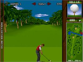 In game image of Nick Faldo's Championship Golf on the Commodore Amiga CD32.