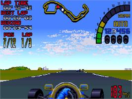 In game image of Nigel Mansell's World Championship on the Commodore Amiga CD32.