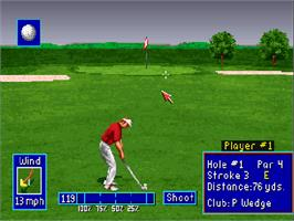 In game image of PGA European Tour on the Commodore Amiga CD32.