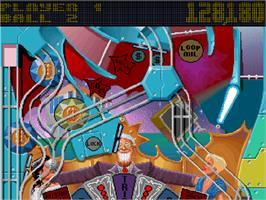 In game image of Pinball Fantasies on the Commodore Amiga CD32.