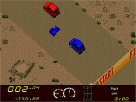 In game image of Power Drive on the Commodore Amiga CD32.