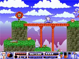 In game image of Quik the Thunder Rabbit on the Commodore Amiga CD32.