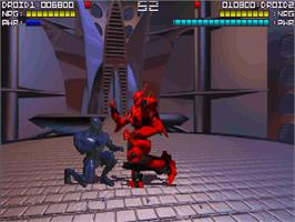 In game image of Rise of the Robots on the Commodore Amiga CD32.