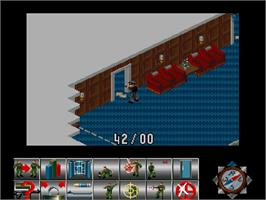 In game image of Sabre Team on the Commodore Amiga CD32.