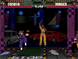 In game image of Shadow Fighter on the Commodore Amiga CD32.