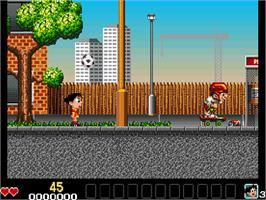 In game image of Soccer Kid on the Commodore Amiga CD32.