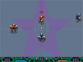 In game image of Speedball 2: Brutal Deluxe on the Commodore Amiga CD32.