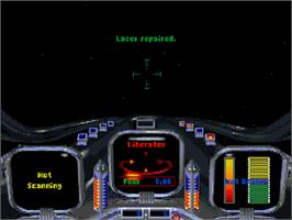 In game image of Star Crusader on the Commodore Amiga CD32.