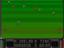 In game image of Striker on the Commodore Amiga CD32.