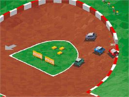 In game image of Super Skidmarks on the Commodore Amiga CD32.