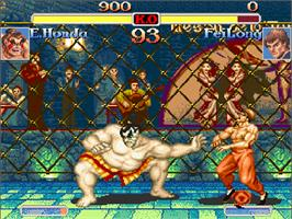 In game image of Super Street Fighter II Turbo on the Commodore Amiga CD32.