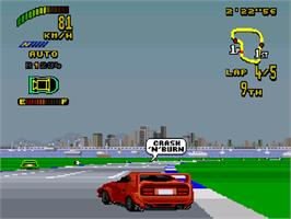 In game image of Top Gear 2 on the Commodore Amiga CD32.
