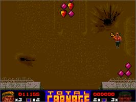 In game image of Total Carnage on the Commodore Amiga CD32.