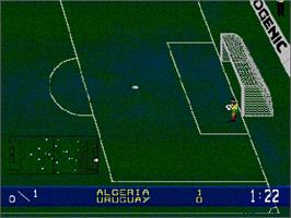 In game image of Wembley International Soccer on the Commodore Amiga CD32.