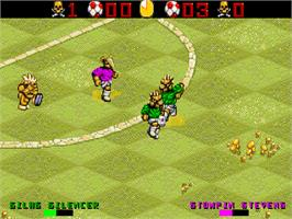 In game image of Wild Cup Soccer on the Commodore Amiga CD32.