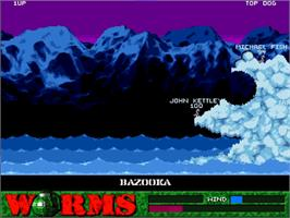 In game image of Worms on the Commodore Amiga CD32.