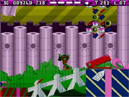 In game image of Zool 2 on the Commodore Amiga CD32.