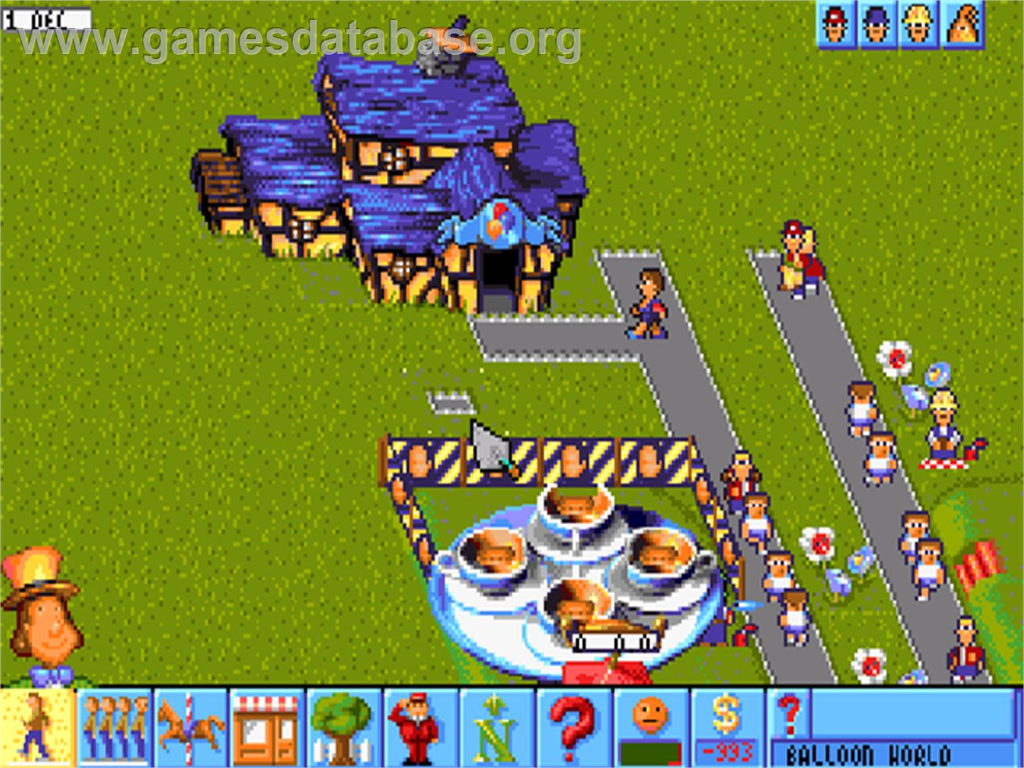 In game image of Theme Park on the Commodore Amiga CD32.