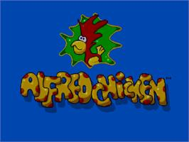 Title screen of Alfred Chicken on the Commodore Amiga CD32.