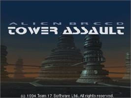 Title screen of Alien Breed: Tower Assault on the Commodore Amiga CD32.