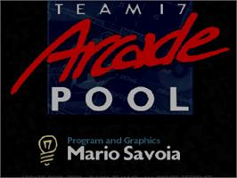Title screen of Arcade Pool on the Commodore Amiga CD32.