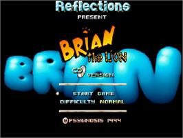 Title screen of Brian the Lion on the Commodore Amiga CD32.