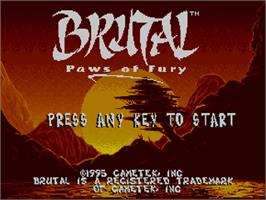 Title screen of Brutal: Paws of Fury on the Commodore Amiga CD32.